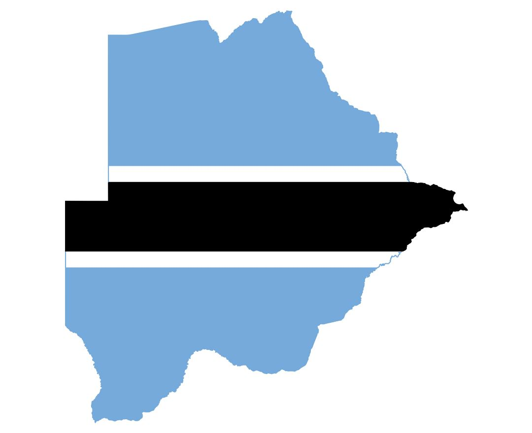 Large flag map of Botswana
