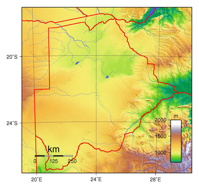 Large physical map of Botswana Botswana Africa Mapsland Maps