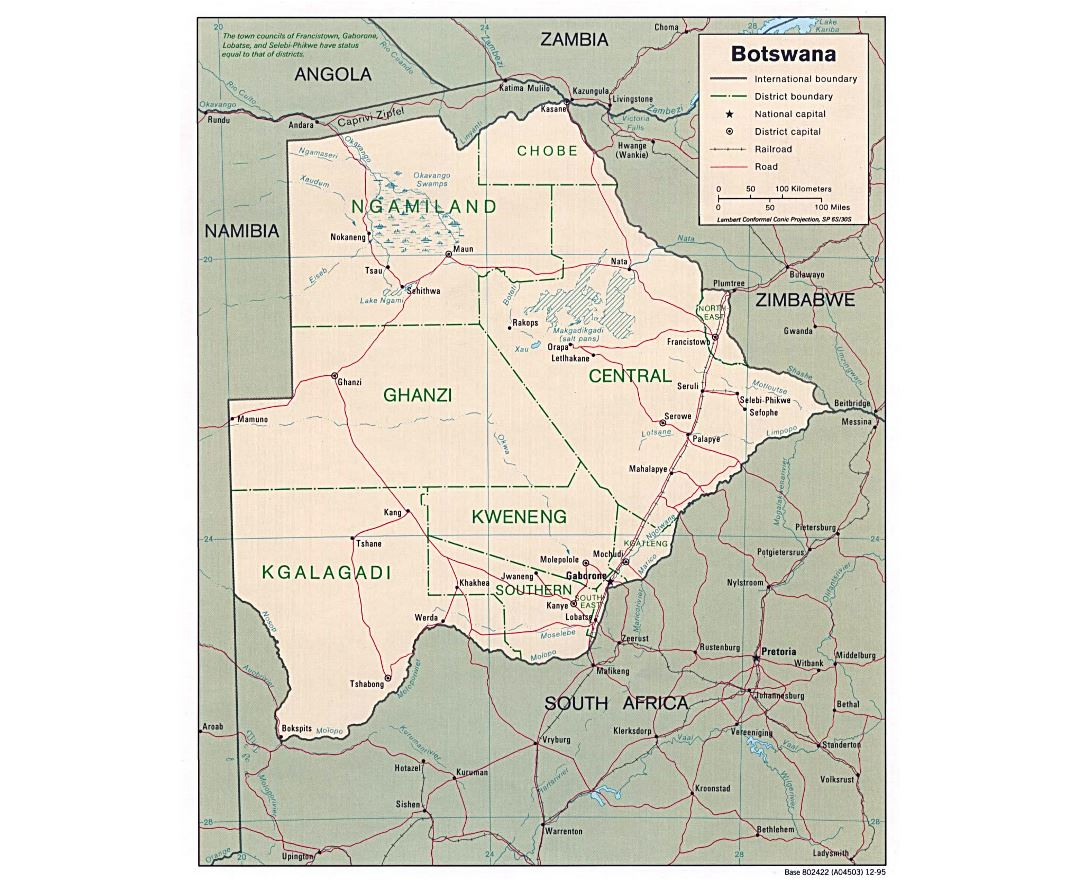 Large political and administrative map of Botswana with roads and major cities - 1995