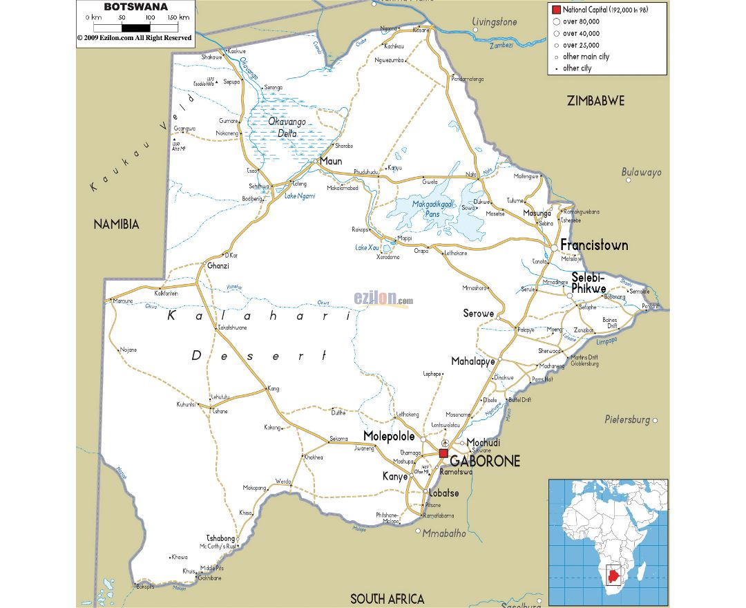 Large road map of Botswana with cities and airports
