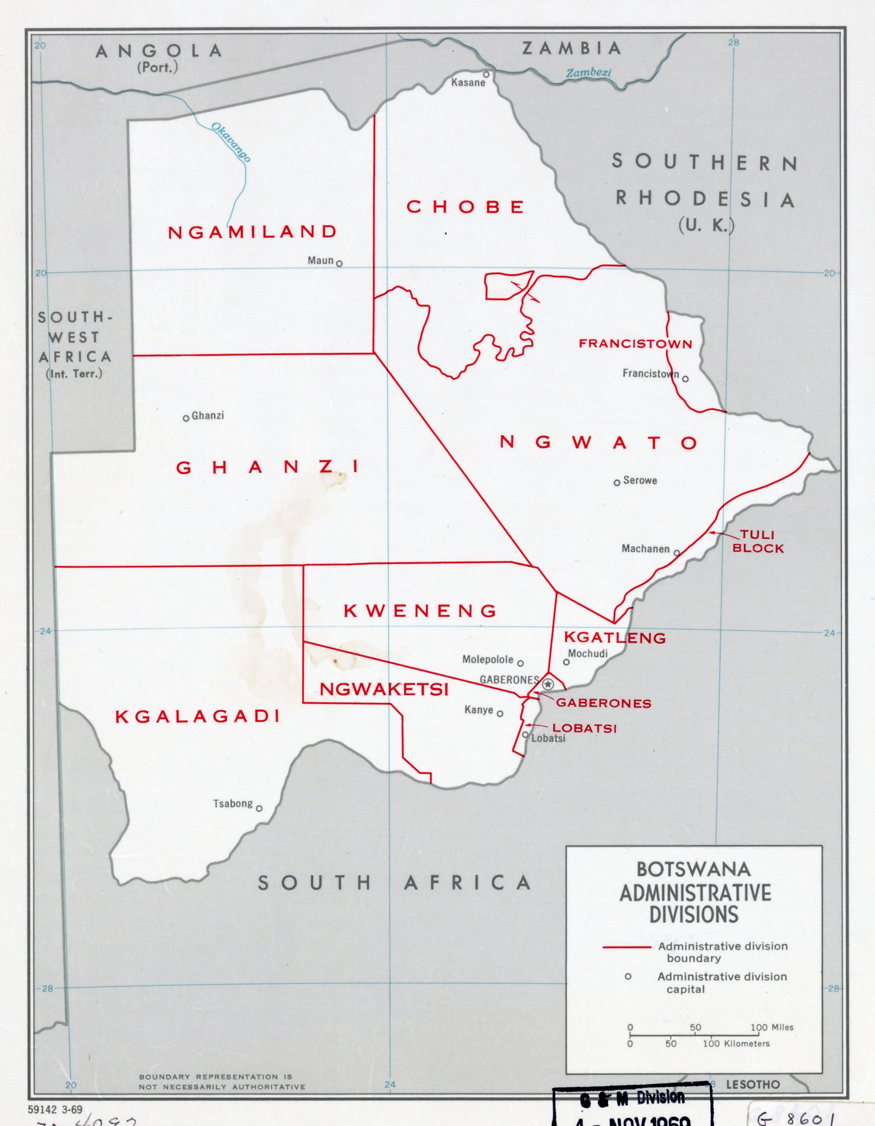 Large scale administrative divisions map of Botswana 1969
