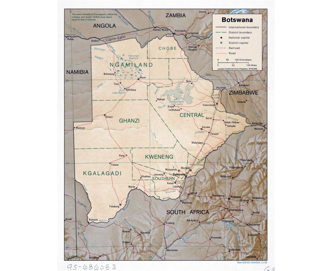 Large scale political and administrative map of Botswana with relief, roads, railroads and major cities - 1995
