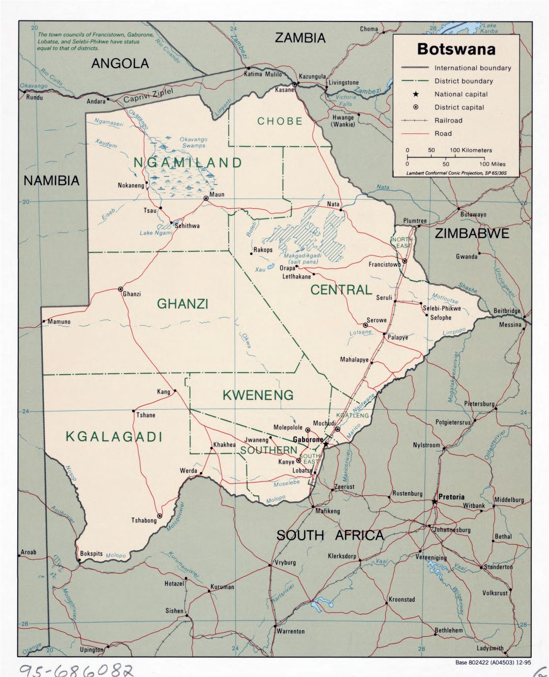 Large scale political and administrative map of Botswana with roads, railroads and major cities - 1995