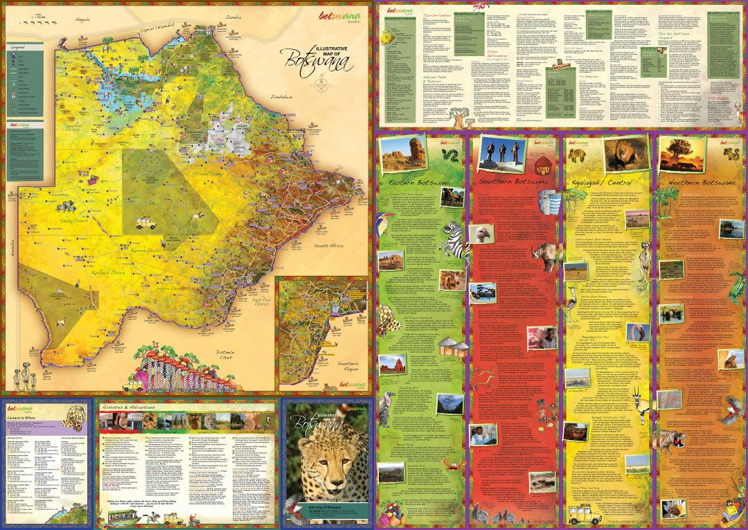 Large scale tourist map of Botswana