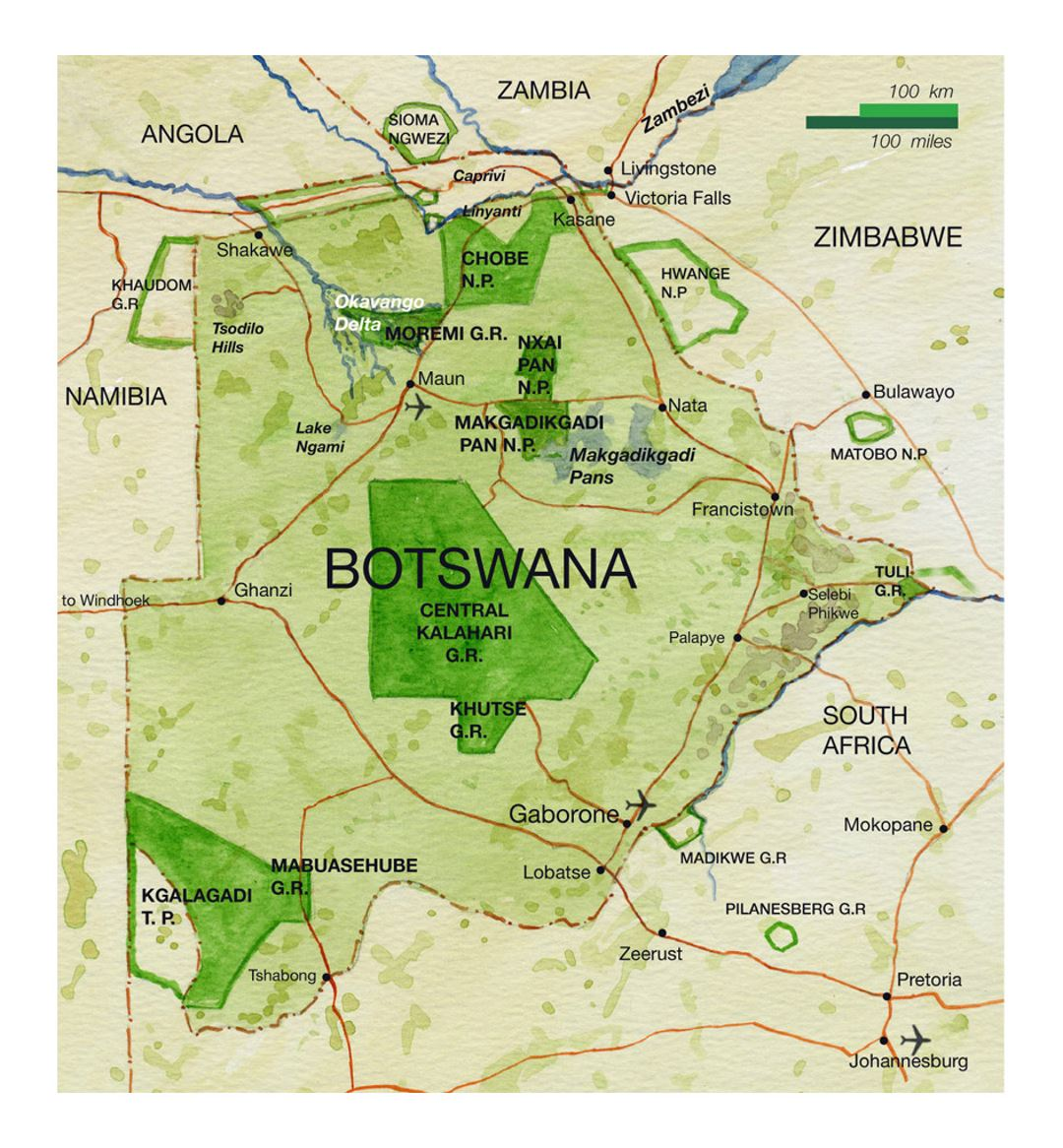 National parks map of Botswana with roads, major cities and airports