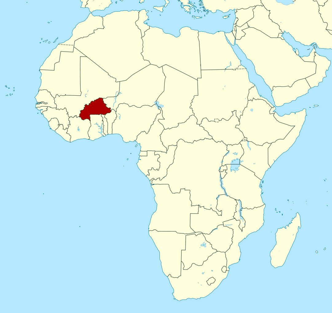 Detailed location map of Burkina Faso in Africa