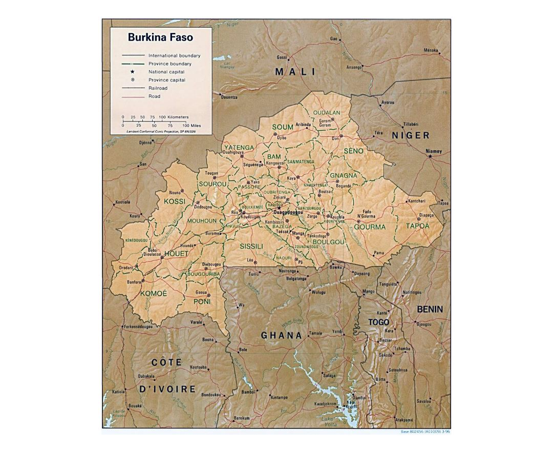 Maps of burkina faso detailed map of burkina faso in english detailed political and administrative map of burkina faso with relief roads railroads and major freerunsca Images