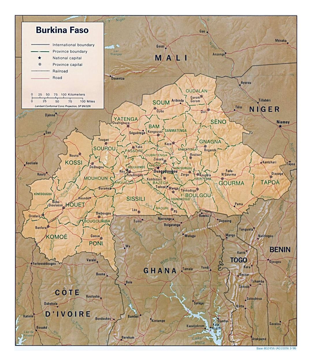 Detailed political and administrative map of Burkina Faso with relief, roads, railroads and major cities - 1996
