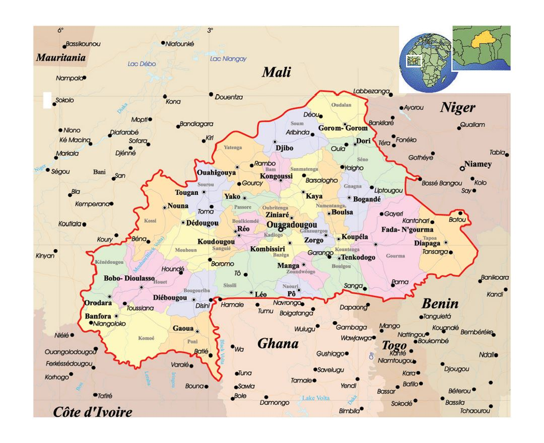 Maps of burkina faso detailed map of burkina faso in english detailed political and administrative map of burkina faso with roads and major cities freerunsca Images
