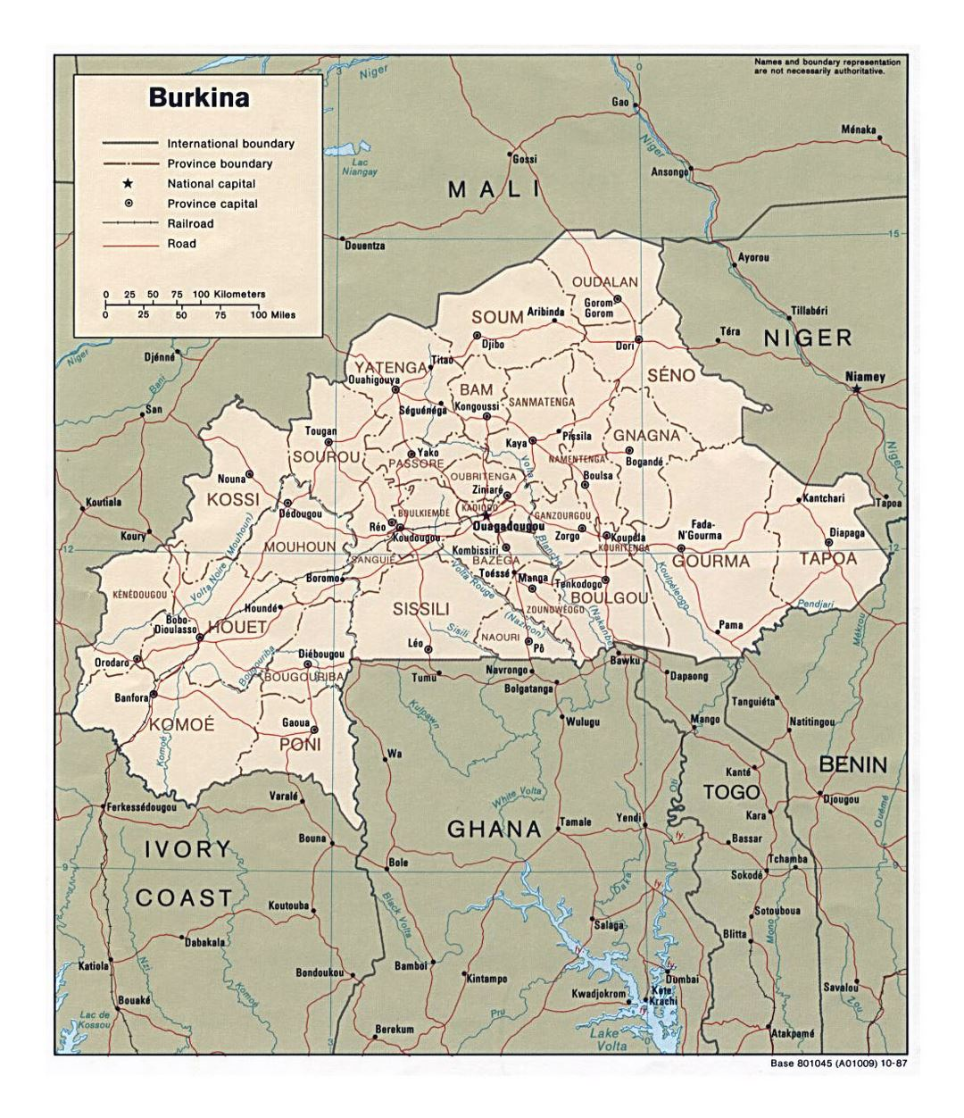 Detailed political and administrative map of Burkina Faso with roads, railroads and major cities - 1987