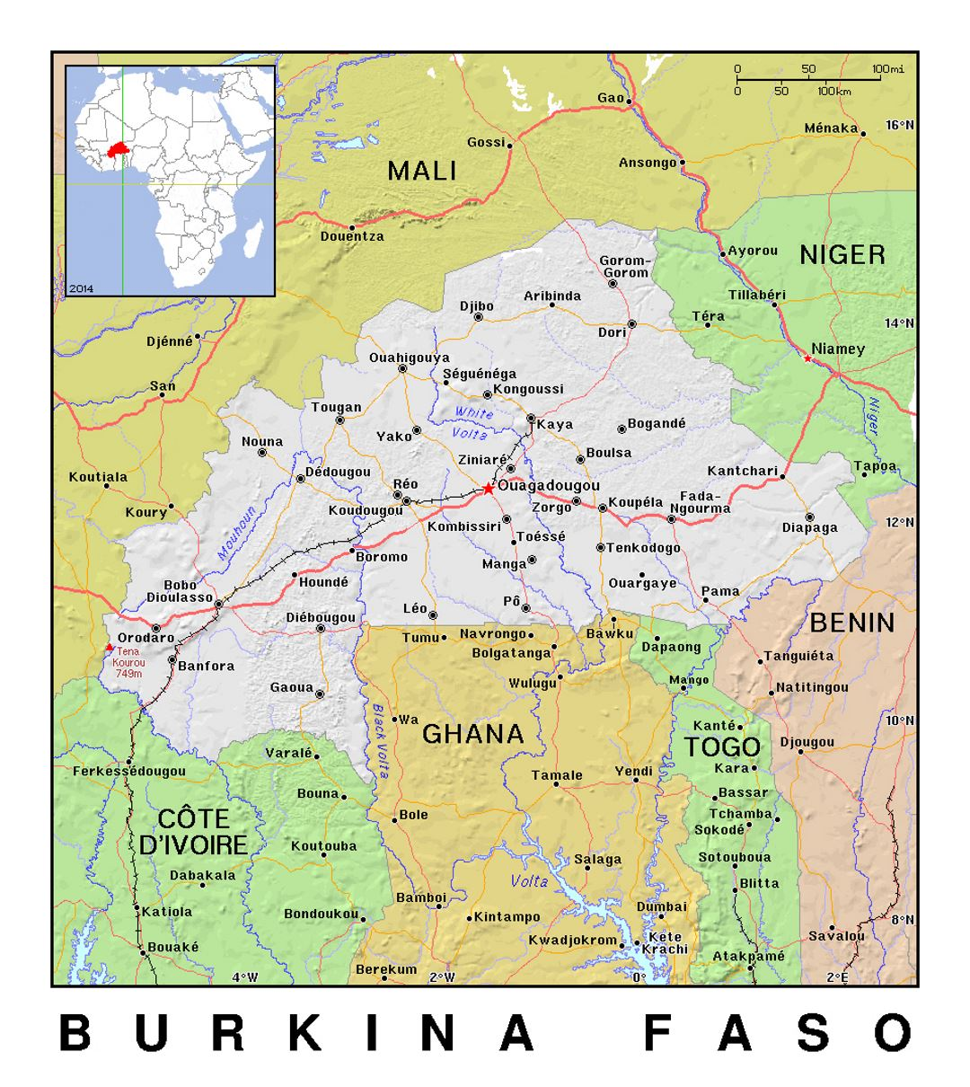 Detailed political map of Burkina Faso with relief