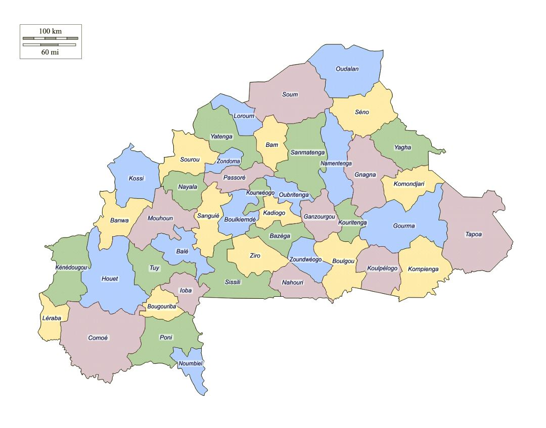 Large administrative map of Burkina Faso