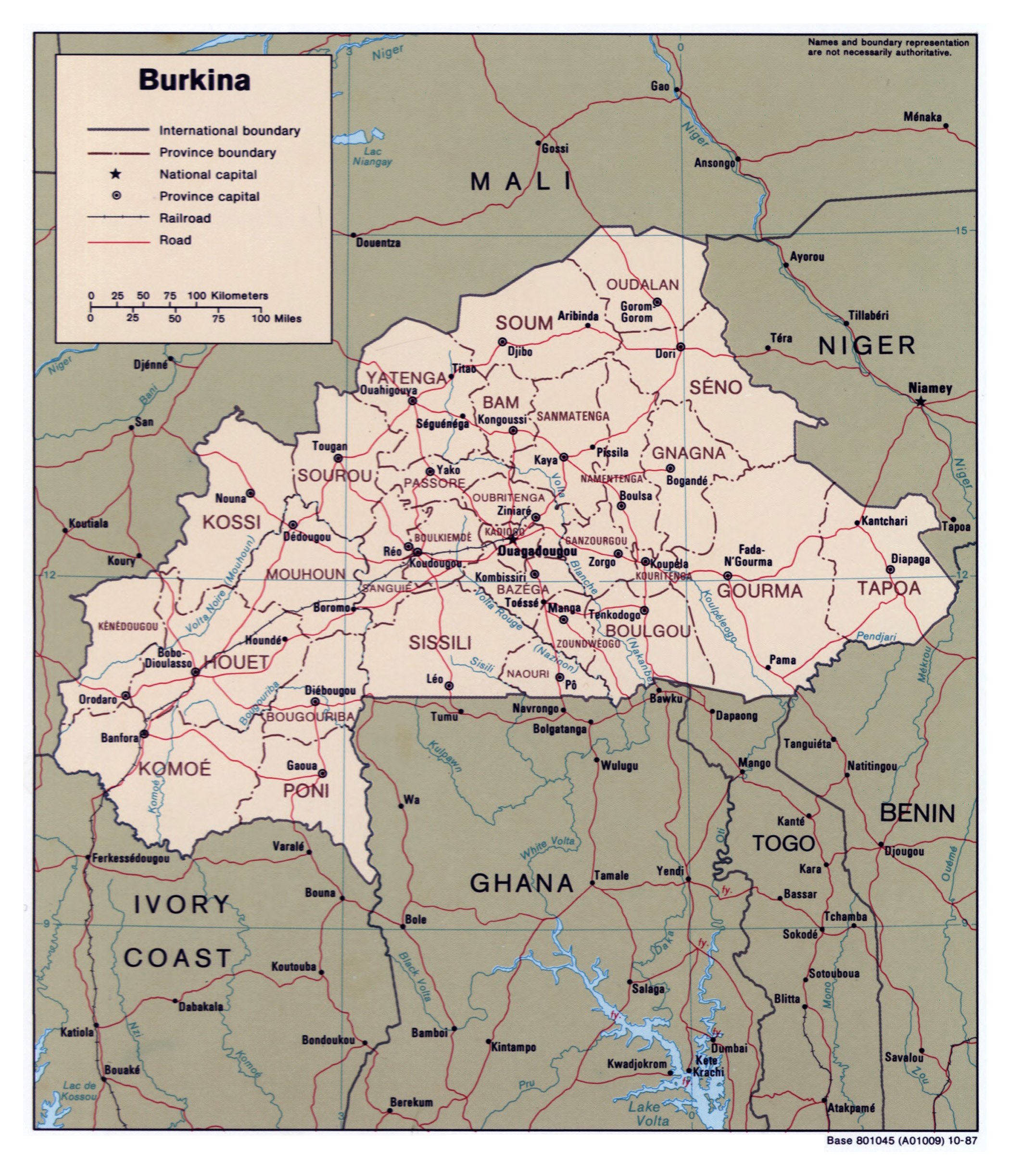 Large detailed political and administrative map of Burkina Faso with