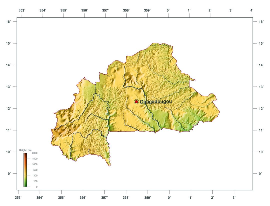 Large elevation map of Burkina Faso