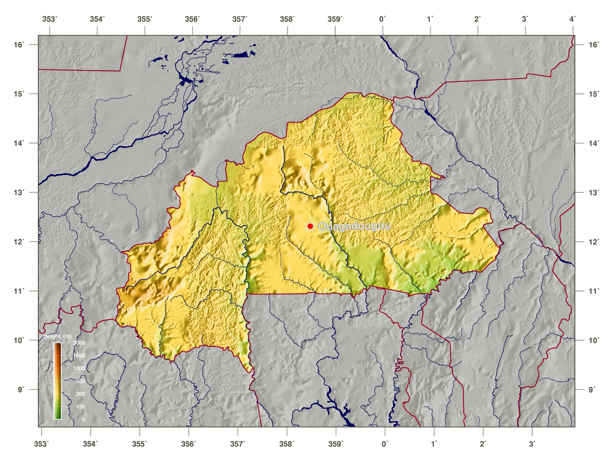 burkina faso on map Large Physical Map Of Burkina Faso Burkina Faso Africa burkina faso on map