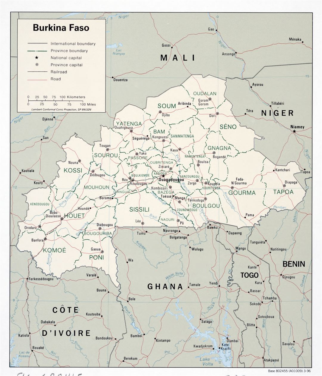 Large scale political and administrative map of Burkina Faso with roads, railroads and major cities - 1996