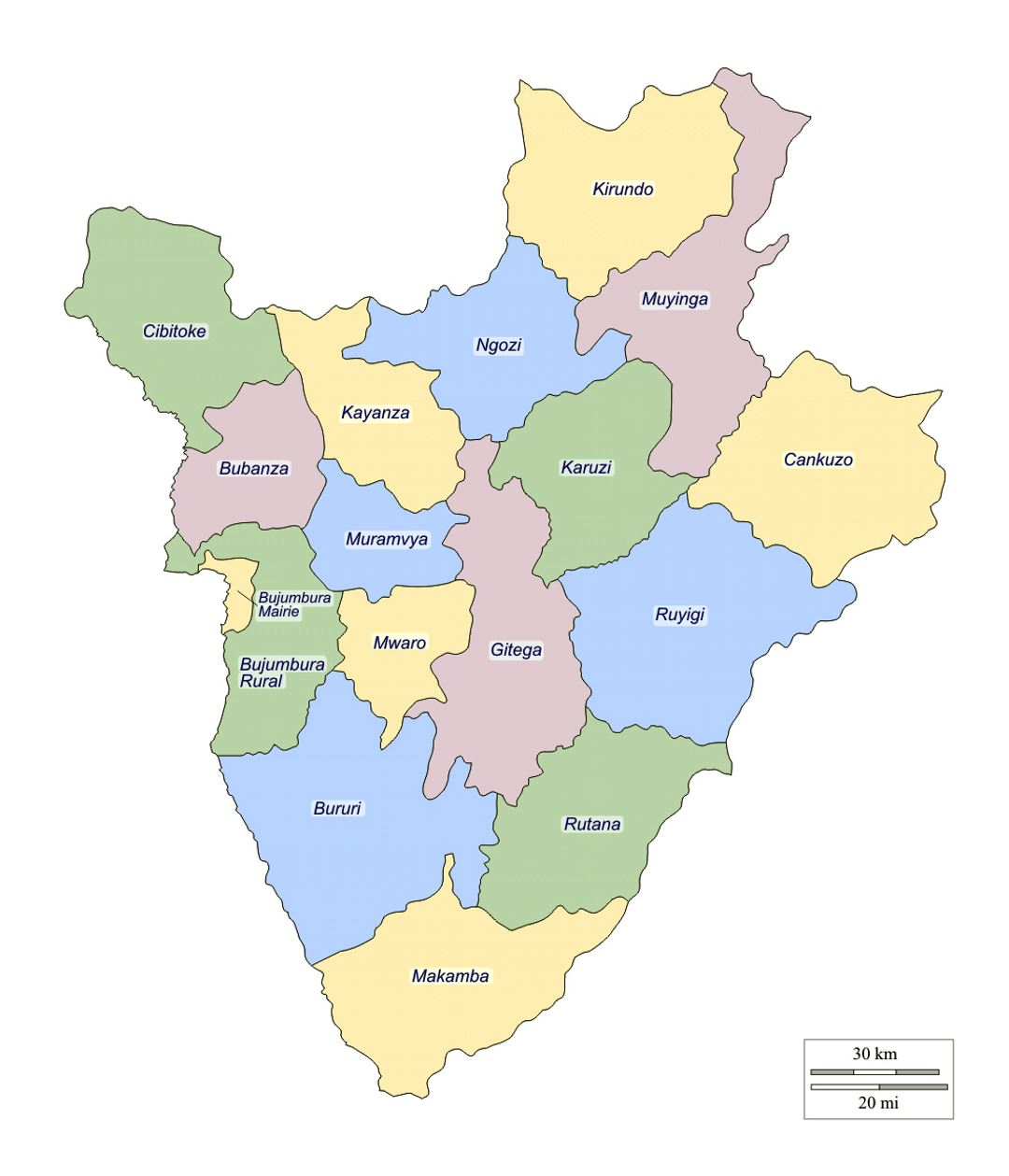 Detailed administrative divisions map of Burundi