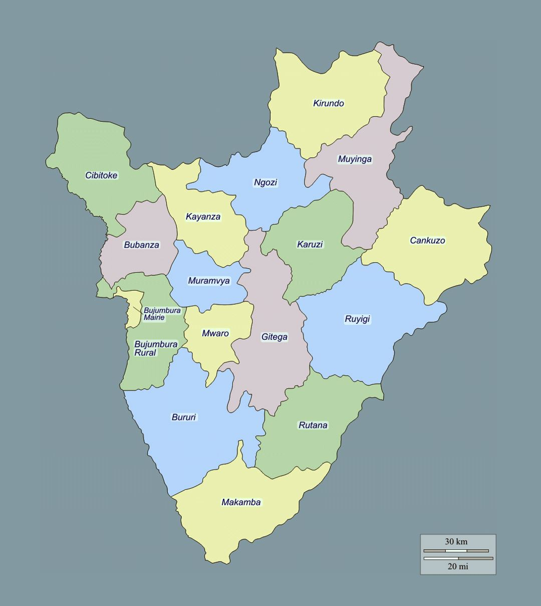Detailed administrative map of Burundi