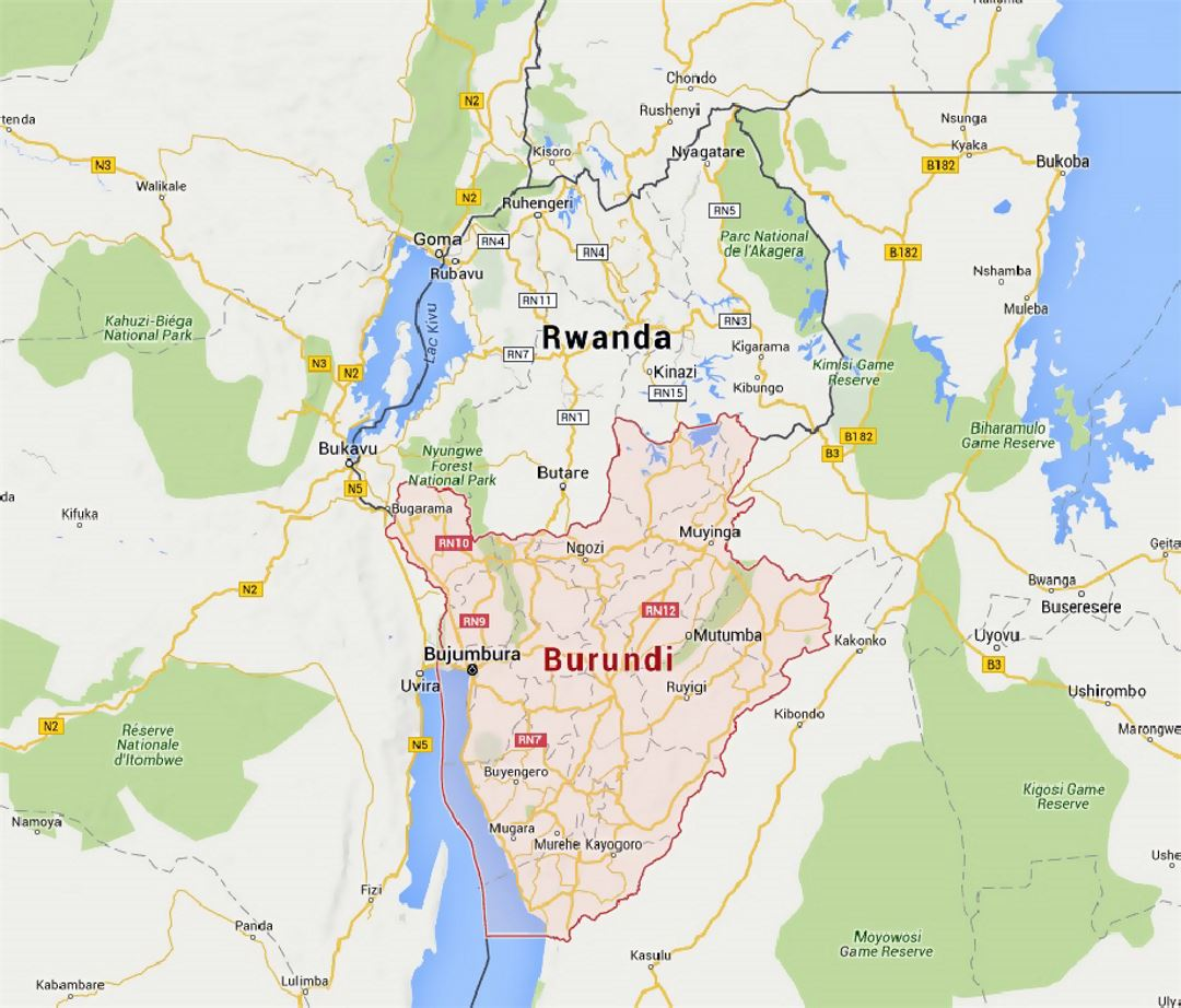 Detailed map of Burundi