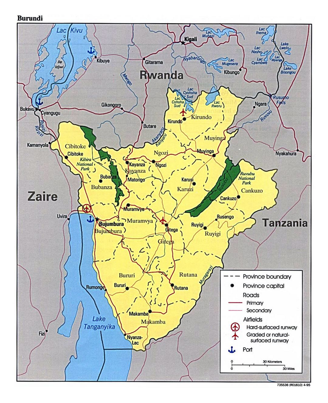 Detailed map of Burundi with administrative divisions, roads, major cities, airports and ports - 1995