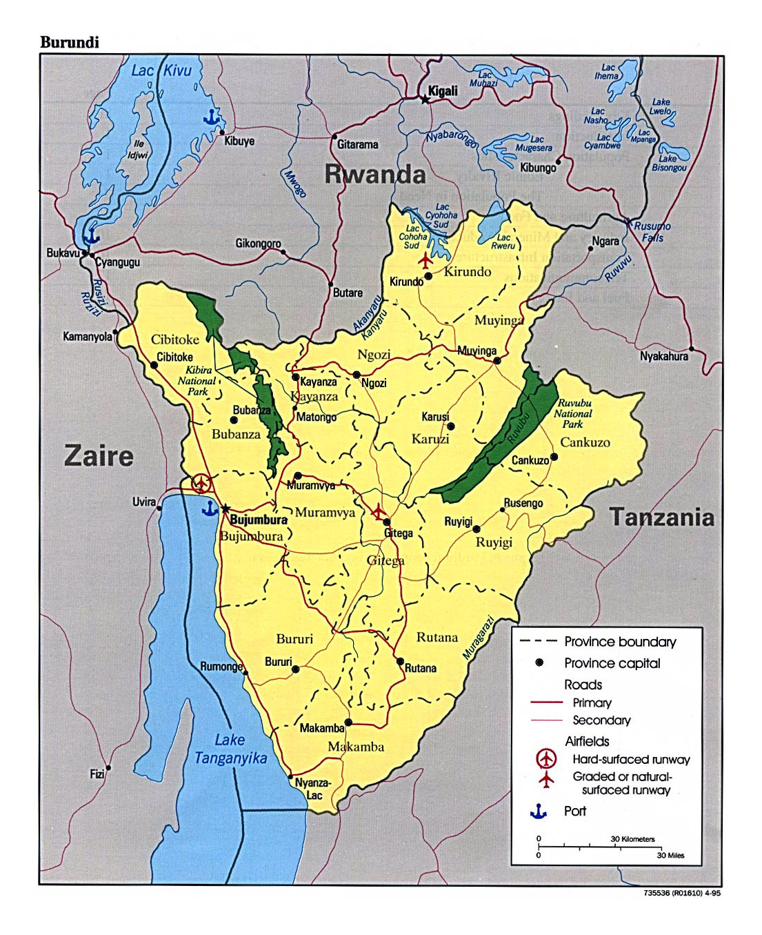 Detailed map of burundi with administrative divisions roads major detailed map of burundi with administrative divisions roads major cities airports and ports gumiabroncs Gallery