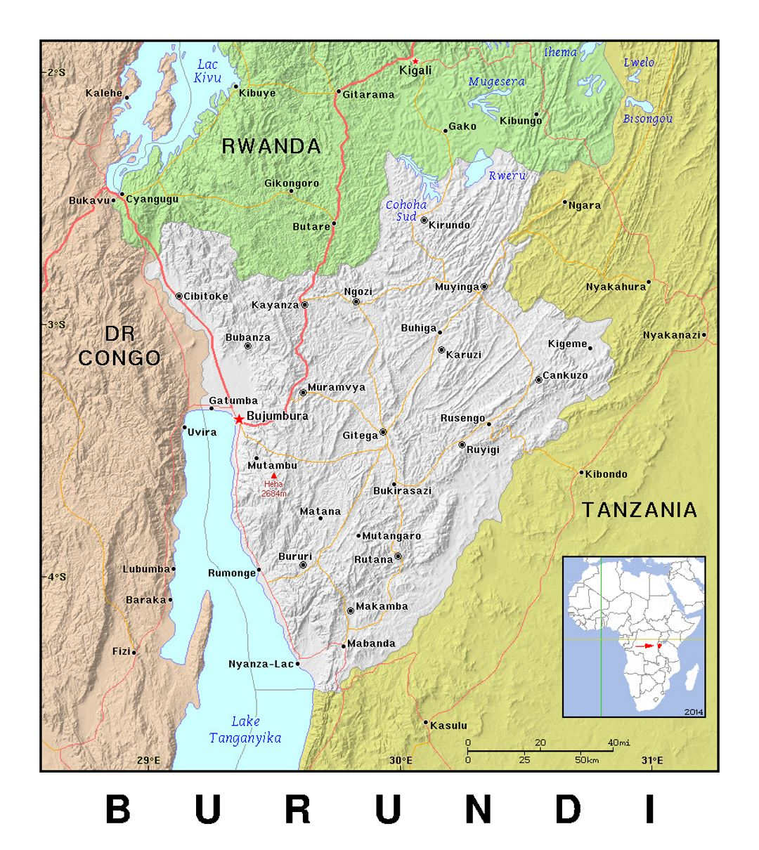 Detailed political map of Burundi with relief