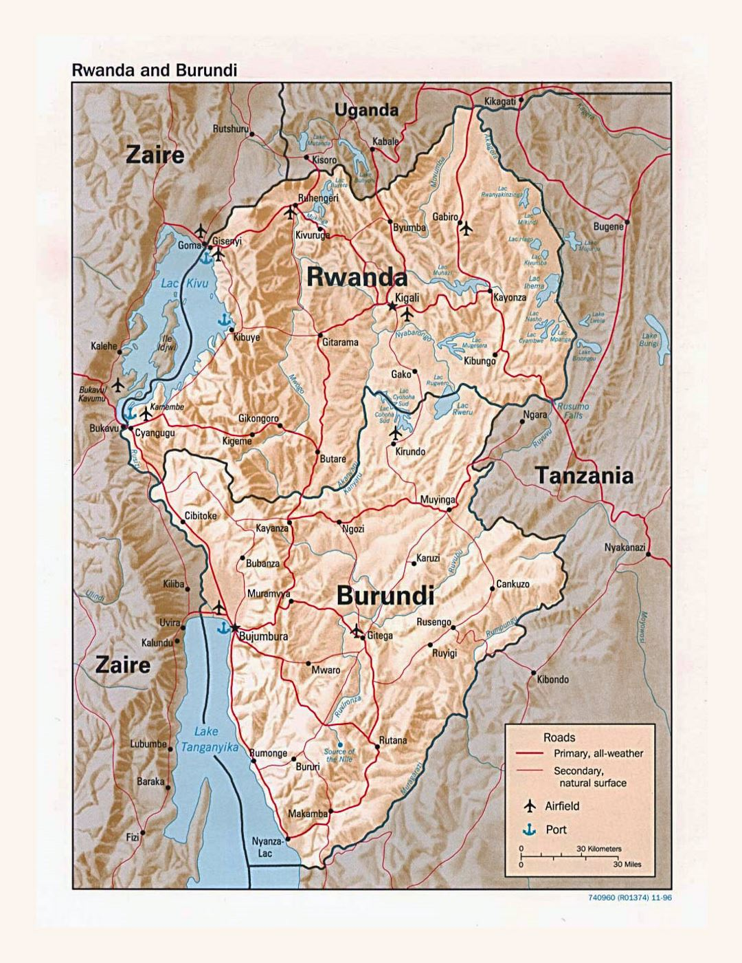 Detailed political map of Rwanda and Burundi with relief, roads, major cities, airports and ports - 1996