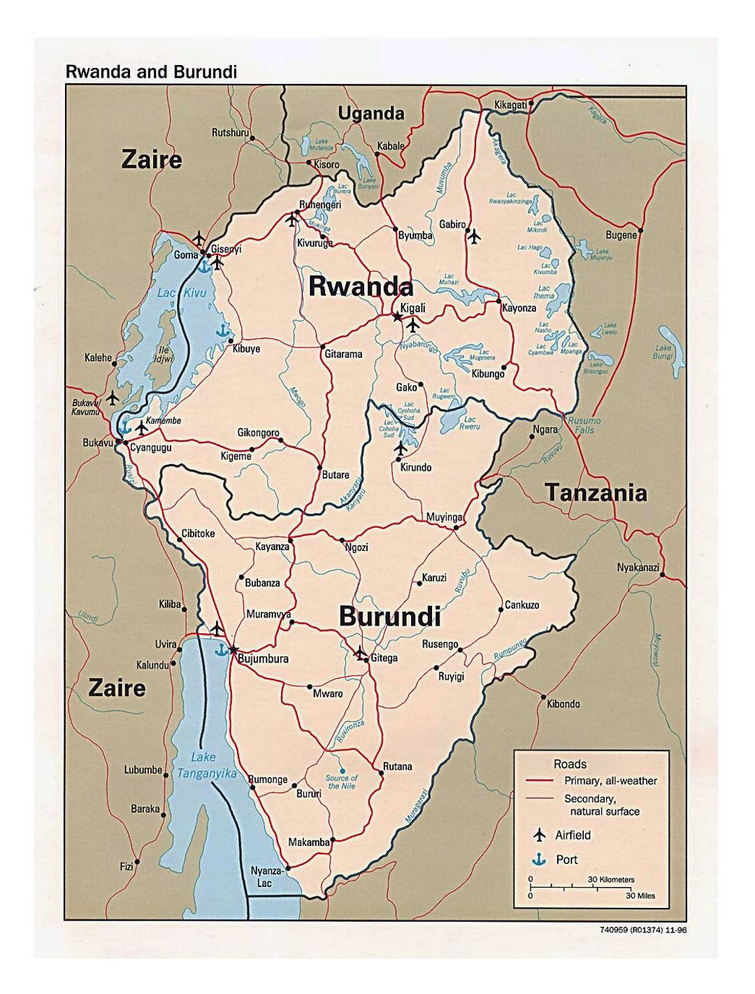 Detailed political map of Rwanda and Burundi with roads, major cities, airports and ports - 1996