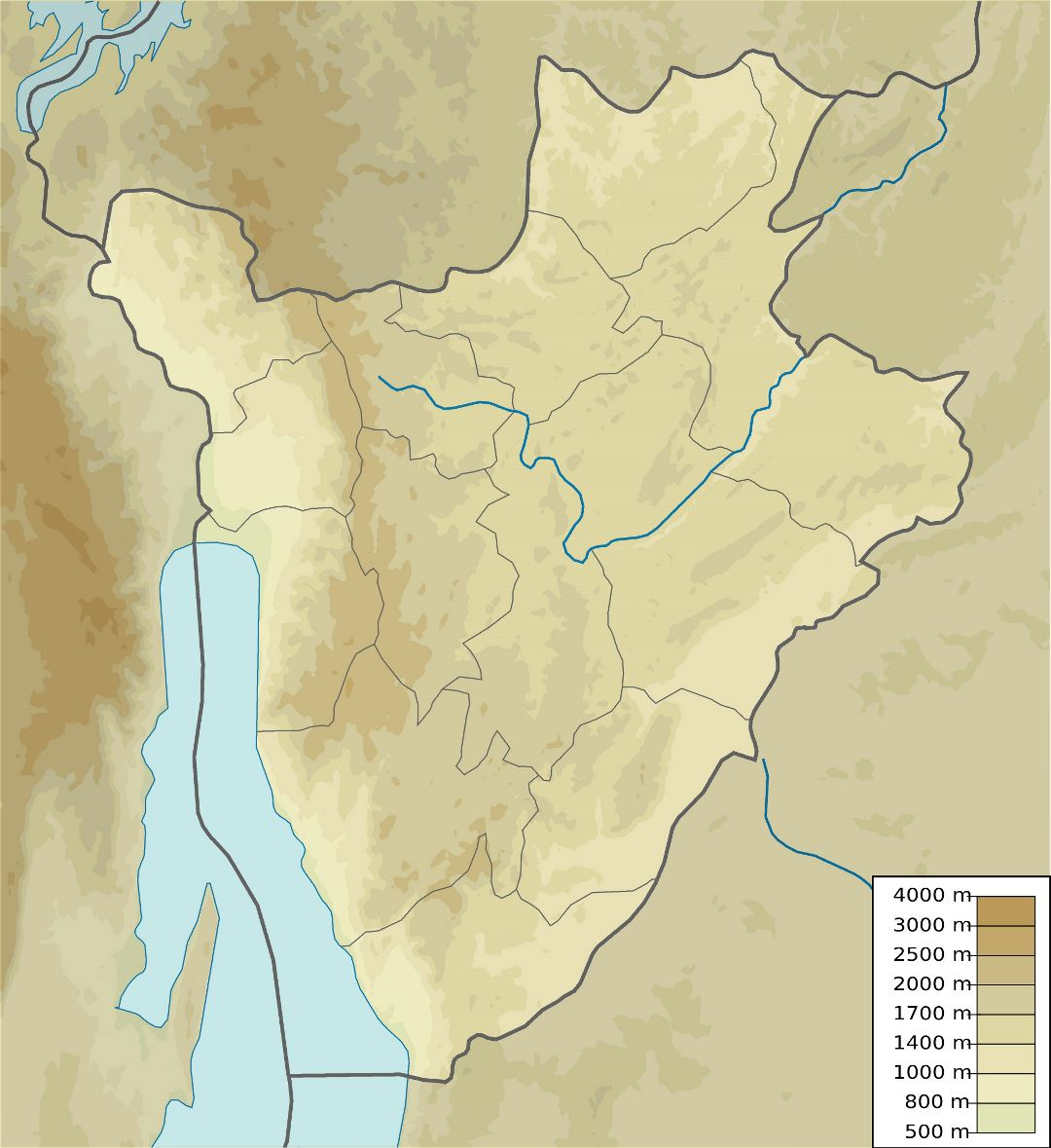 Large detailed elevation map of Burundi