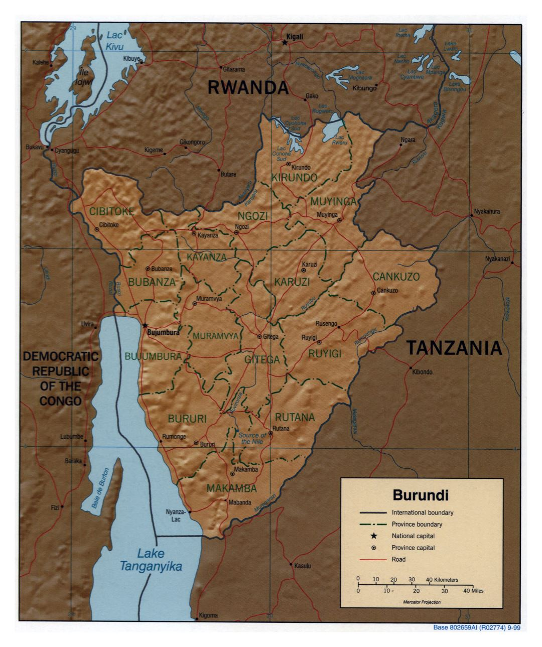 Large detailed political and administrative map of Burundi with relief, roads and major cities - 1999