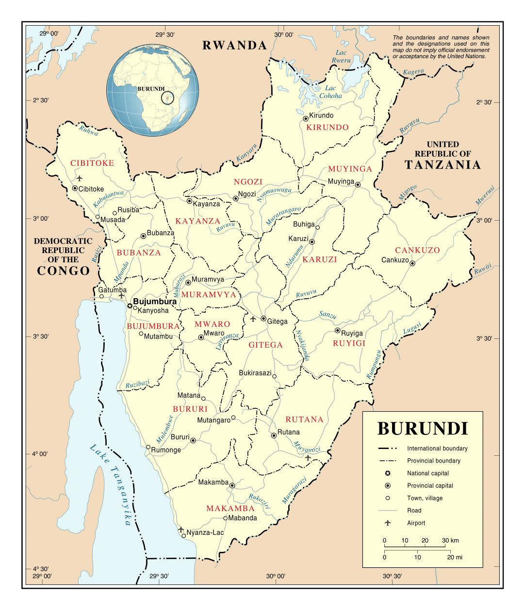 Large detailed political and administrative map of Burundi with roads, major cities and airports