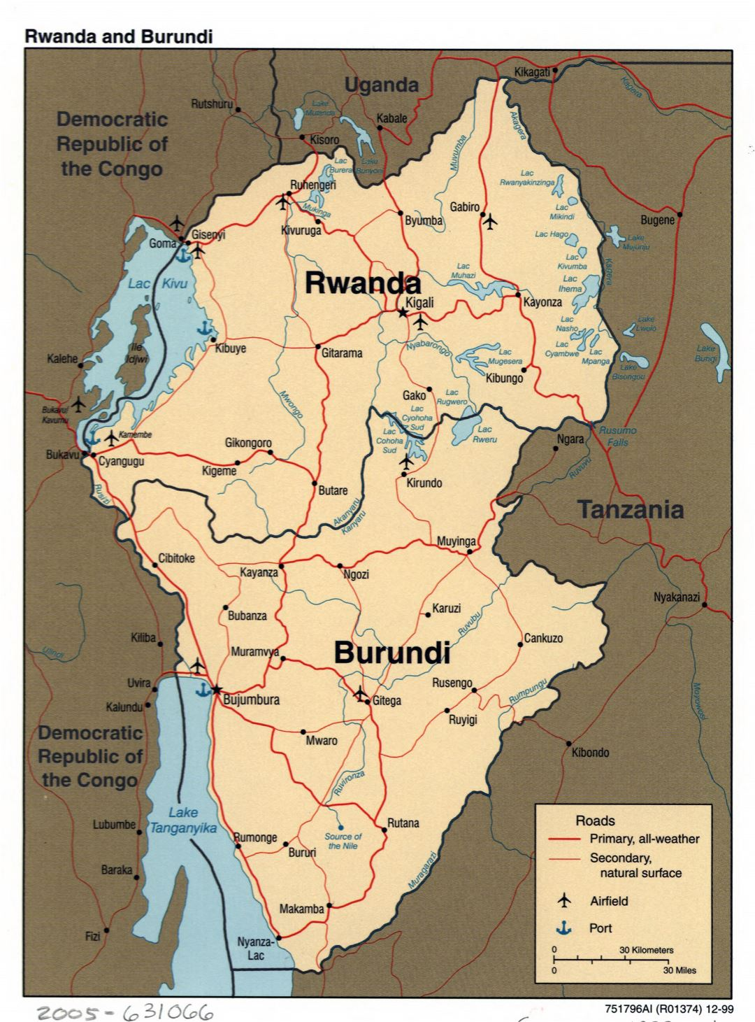 Large detailed political map of Rwanda and Burundi with roads, major cities, airports and ports - 1999