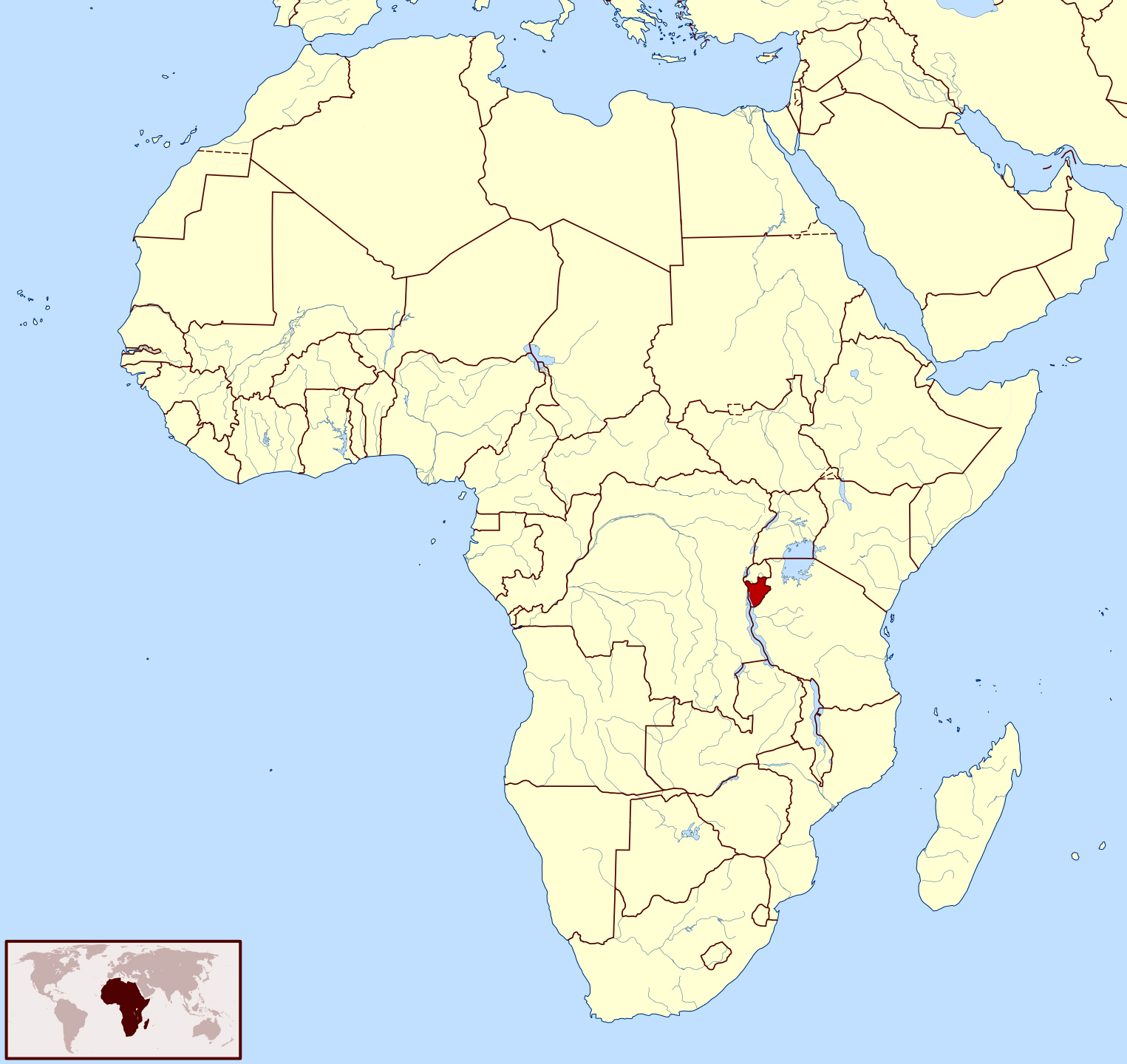 Where Is Burundi On A Map Of Africa Large location map of Burundi in Africa | Burundi | Africa