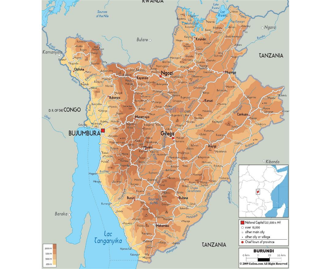 Maps of Burundi Detailed map of Burundi in English Tourist map