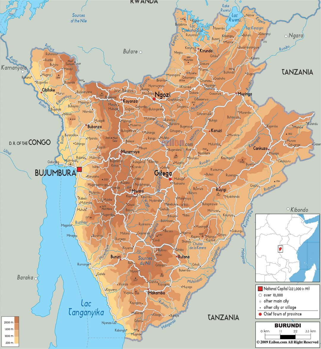 Large physical map of Burundi with roads, cities and airports