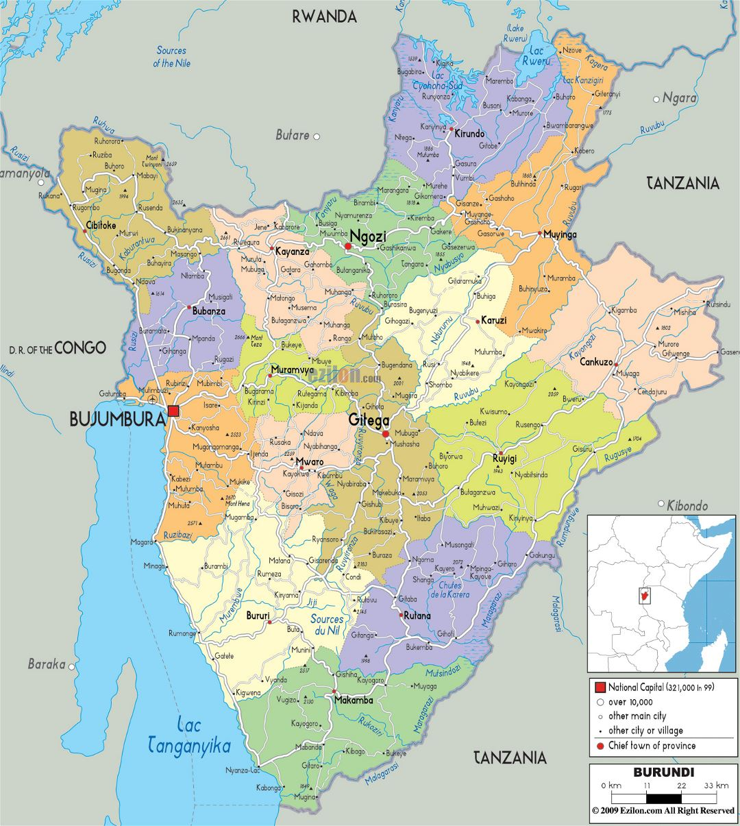 Large political and administrative map of Burundi with roads, cities and airports