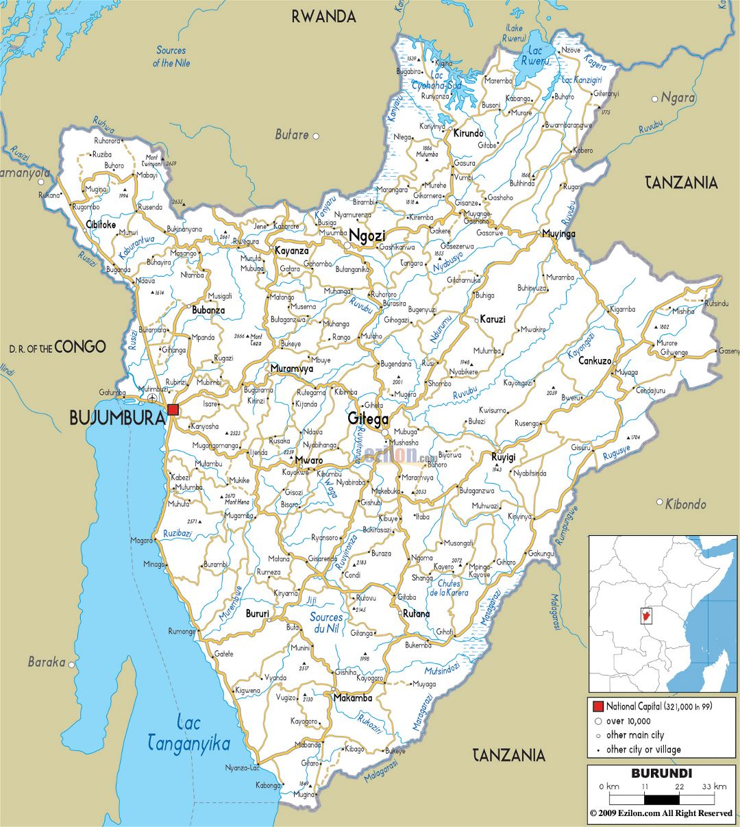 Large road map of Burundi with cities and airports