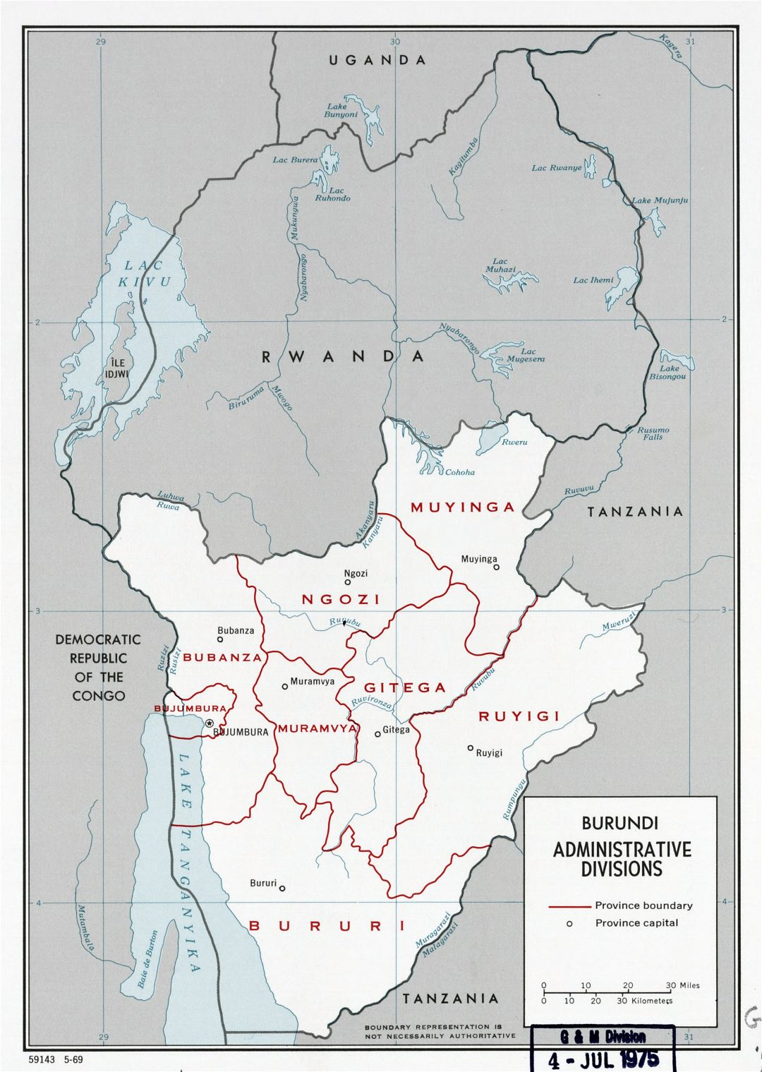 Large scale administrative divisions map of Burundi - 1969