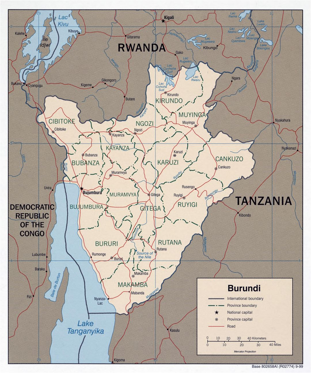 Large scale political and administrative map of Burundi with roads and major cities - 1999