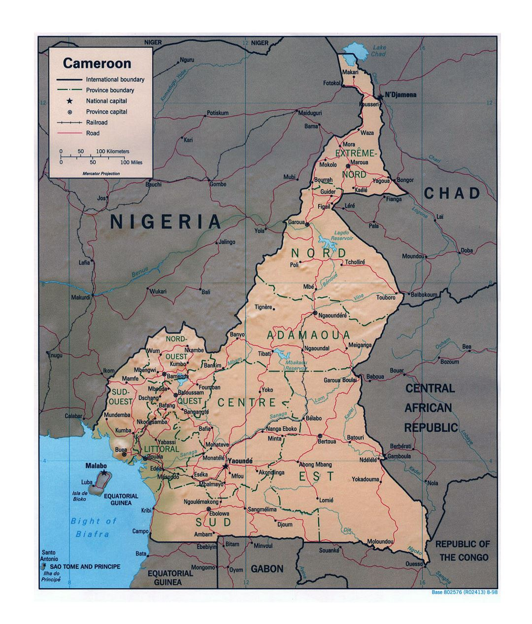 Detailed political and administrative map of Cameroon with relief, roads, railroads and major cities - 1998