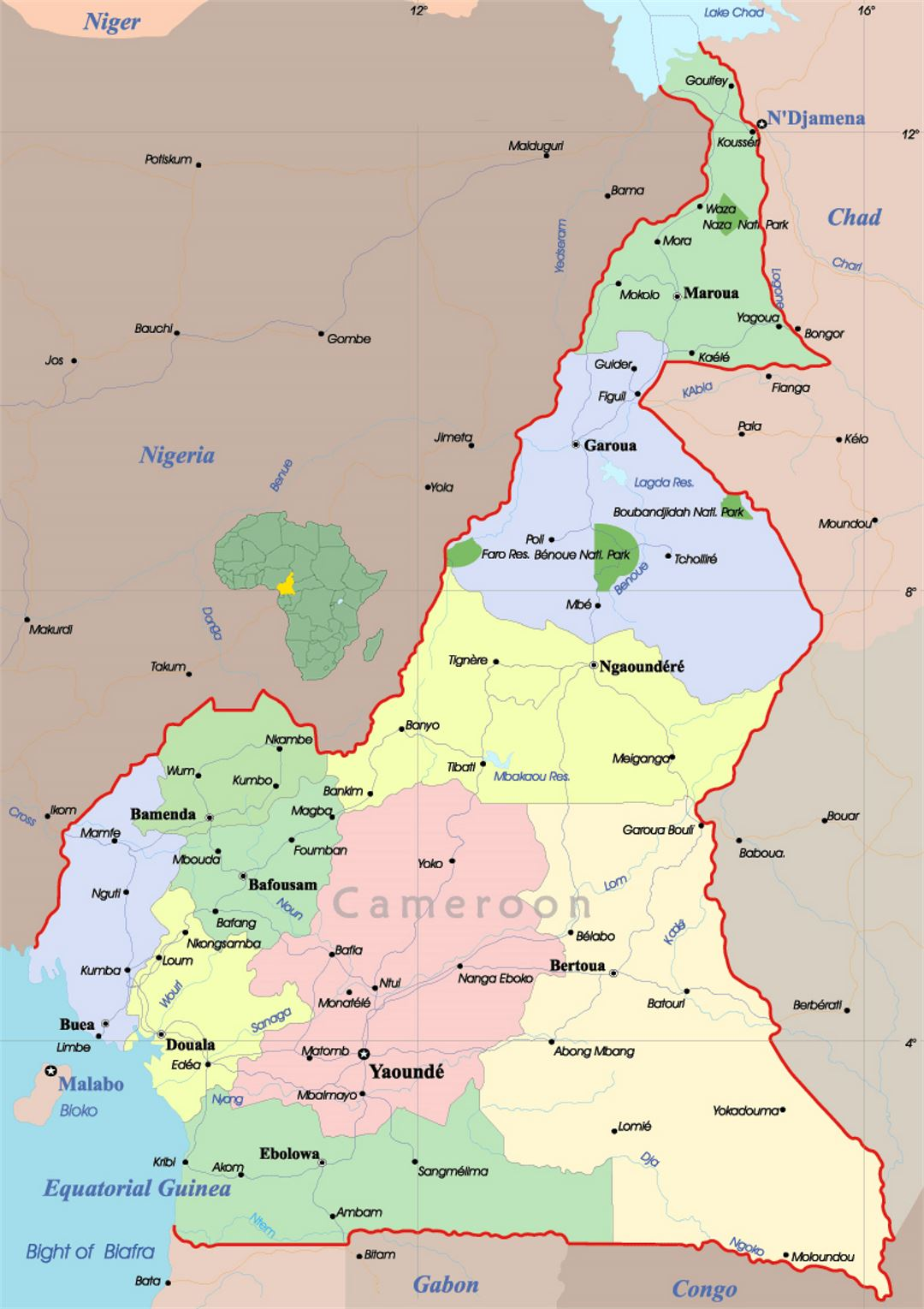 Map Of Africa Cameroon.Detailed Political And Administrative Map Of Cameroon With