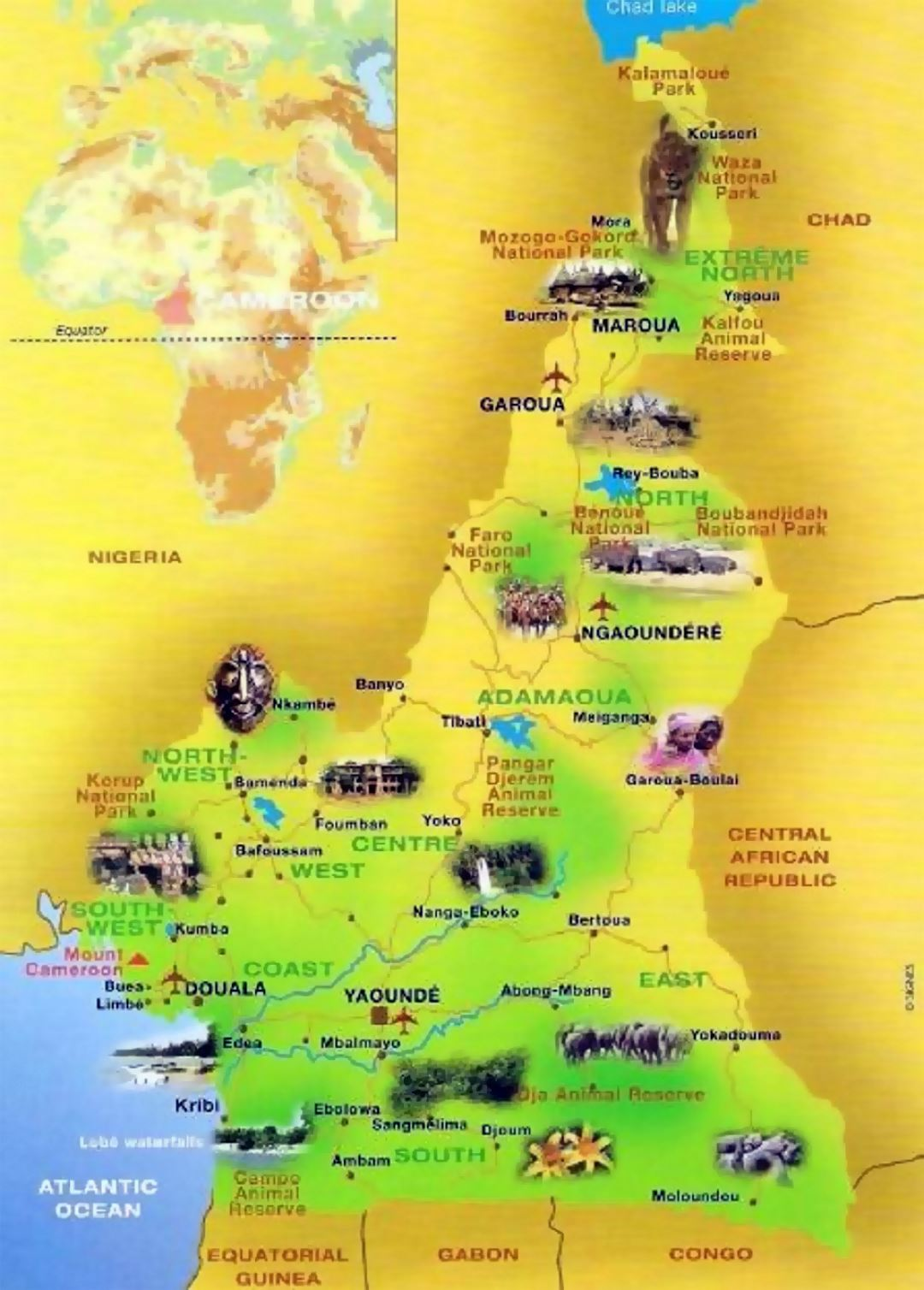 Detailed tourist map of Cameroon