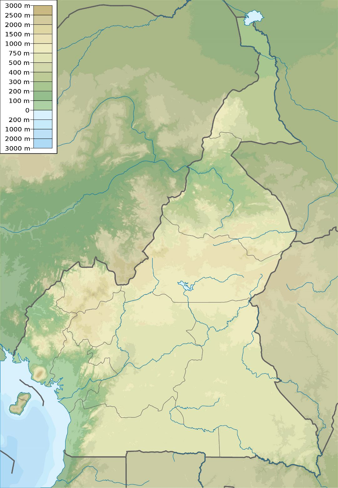 Large detailed elevation map of Cameroon