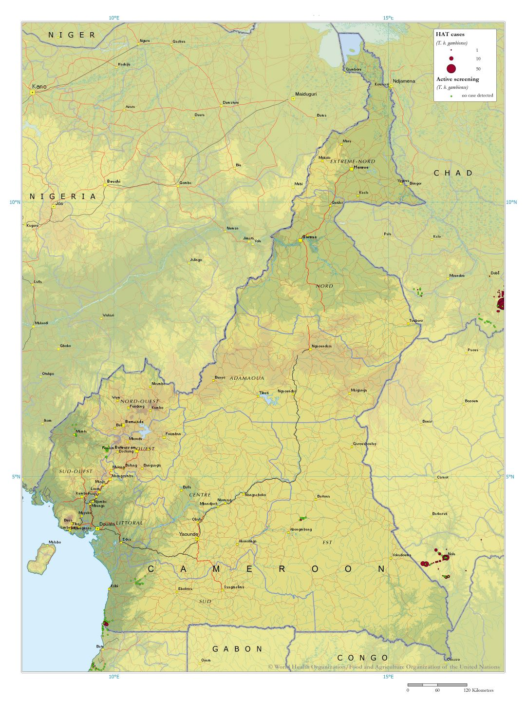 Large detailed map of Cameroon