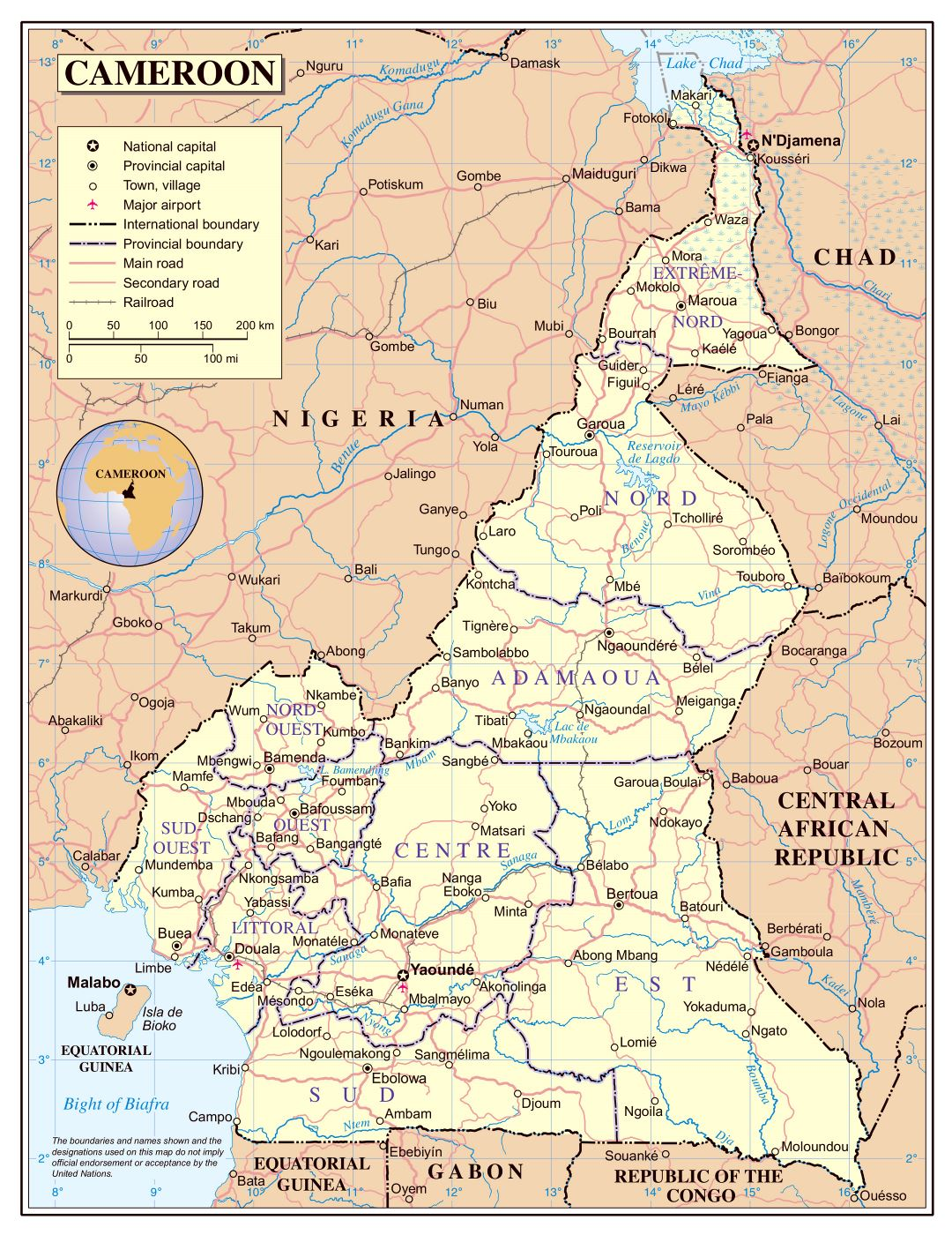 Large detailed political and administrative map of Cameroon with roads, cities and airports