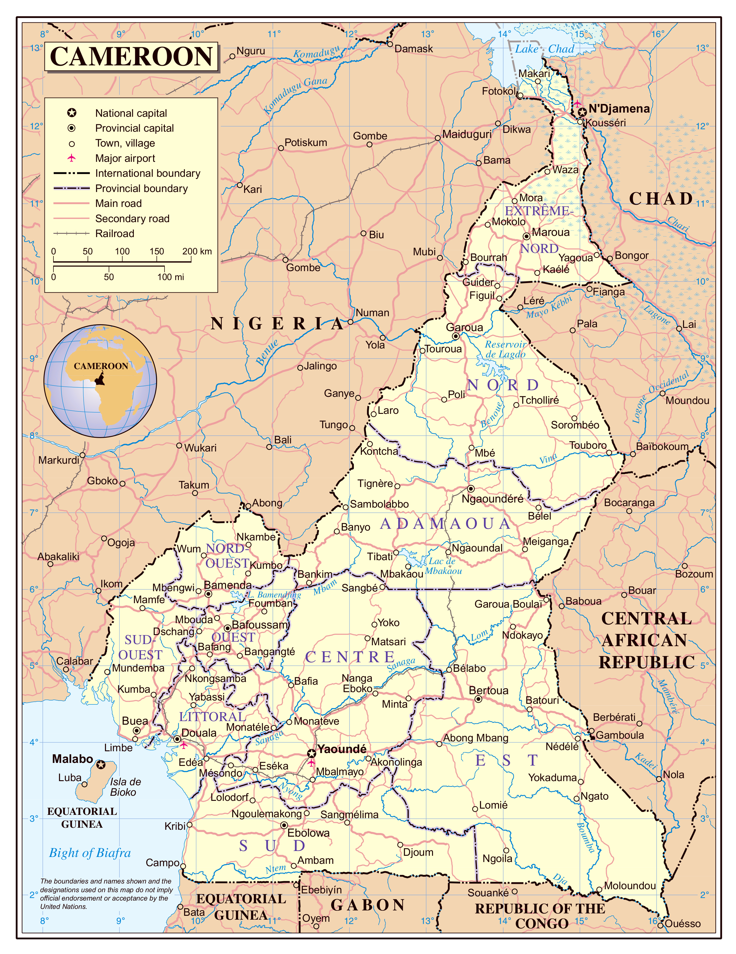 Large detailed political and administrative map of Cameroon with