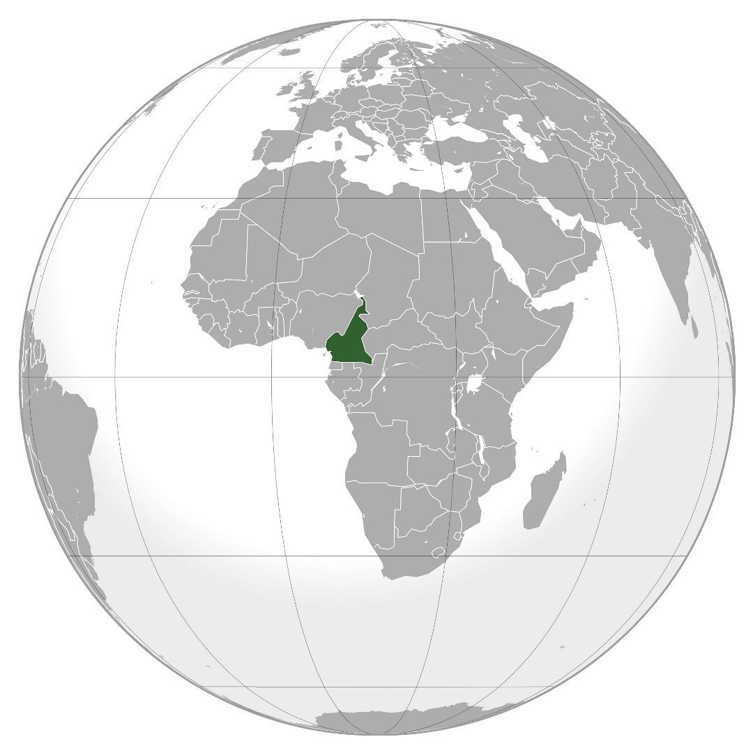 Large location map of Cameroon in Africa