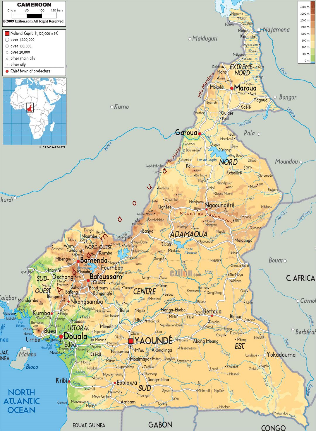 Large physical map of Cameroon with roads, cities and airports