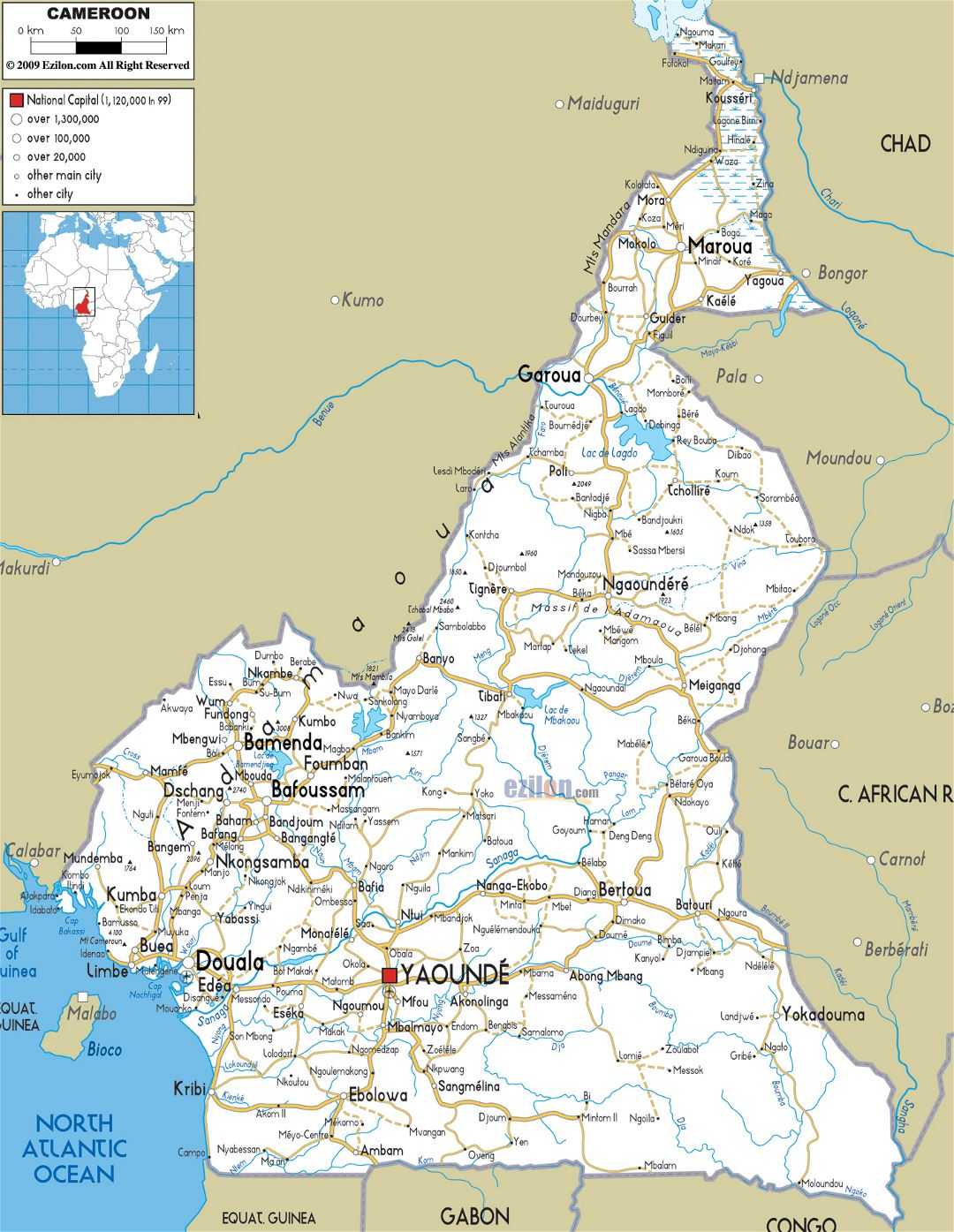 Large road map of Cameroon with cities and airports