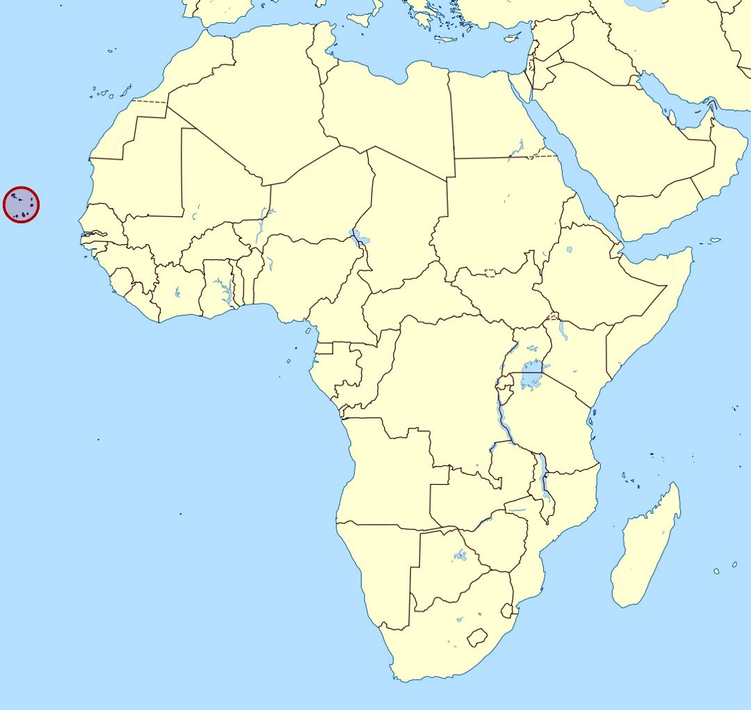 Detailed location map of Cape Verde in Africa